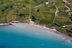 Lumbarda, vinice Lumbarda, pláž Bilin Žal,let.snímek